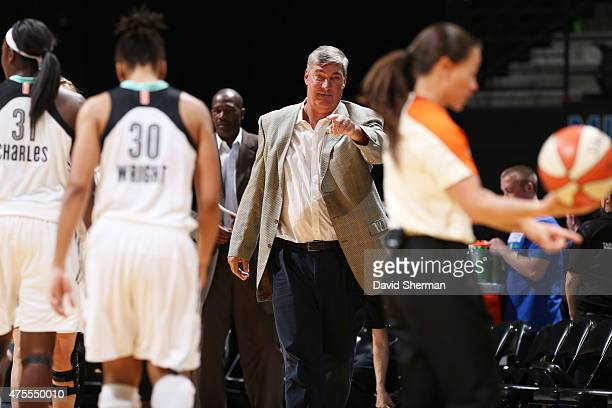 Head Coach Bill Laimbeer of the New York Liberty looks on against the Minnesota Lynx on June 1 2015 at Target Center in Minneapolis Minnesota NOTE TO...