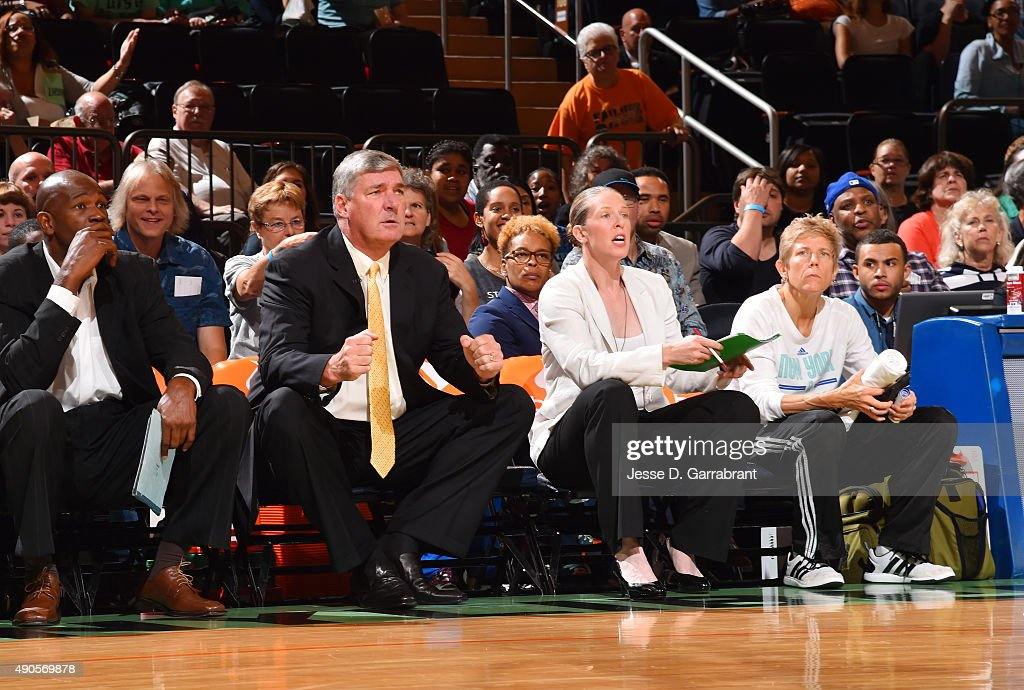 Head Coach <a gi-track='captionPersonalityLinkClicked' href=/galleries/search?phrase=Bill+Laimbeer&family=editorial&specificpeople=213835 ng-click='$event.stopPropagation()'>Bill Laimbeer</a> of the New York Liberty reacts after a play against the Indiana Fever during game Three of the WNBA Eastern Conference Finals at Madison Square Garden on September 29, 2015 in New York, New York