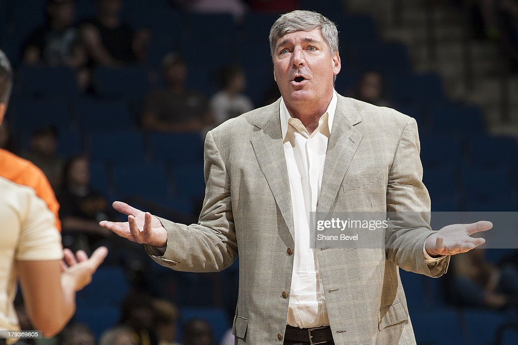 Head coach <a gi-track='captionPersonalityLinkClicked' href=/galleries/search?phrase=Bill+Laimbeer&family=editorial&specificpeople=213835 ng-click='$event.stopPropagation()'>Bill Laimbeer</a> of the New York Liberty reacts to a call against the Tulsa Shock during the WNBA game on September 1, 2013 at the BOK Center in Tulsa, Oklahoma.