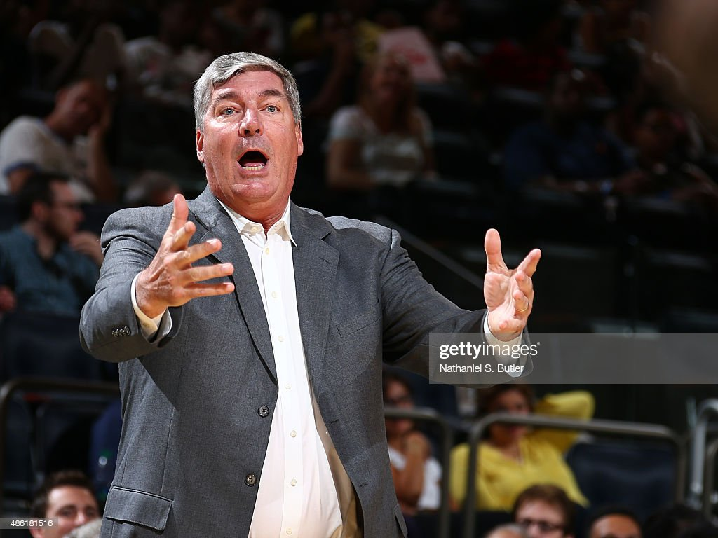 Head coach <a gi-track='captionPersonalityLinkClicked' href=/galleries/search?phrase=Bill+Laimbeer&family=editorial&specificpeople=213835 ng-click='$event.stopPropagation()'>Bill Laimbeer</a> of the New York Liberty reacts to a play during a game against the Atlanta Dream on September 1, 2015 at Madison Square Garden in New York, New York.