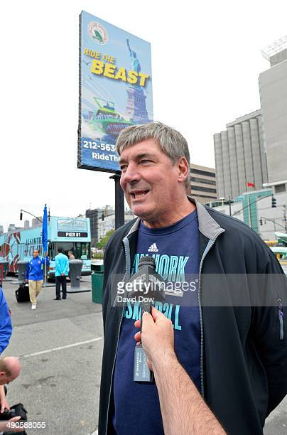 Head coach Bill Laimbeer of the New York Liberty rides The Beast across the Hudson River on May 14 2014 in New York New York NOTE TO USER User...