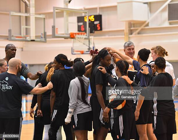 Head Coach Bill Laimbeer of the New York Liberty speaks with his team after practice at the New York Knicks training facility on September 25 2015 in...