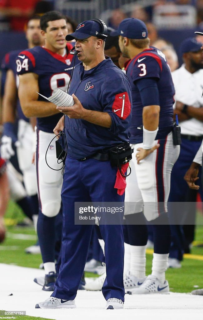 Head coach Bill O'Brien of the Houston Texans at NRG Stadium on August 19, 2017 in Houston, Texas.