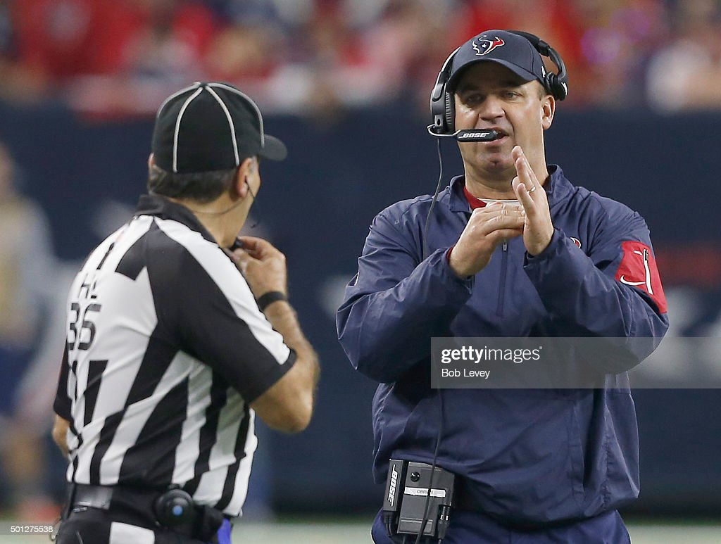 Head coach <a gi-track='captionPersonalityLinkClicked' href=/galleries/search?phrase=Bill+O%27Brien+-+Coach&family=editorial&specificpeople=9756725 ng-click='$event.stopPropagation()'>Bill O'Brien</a> of the Houston Texans calls for timeout while playing against the New England Patriots in the fourth quarter on December 13, 2015 at NRG Stadium in Houston, Texas.