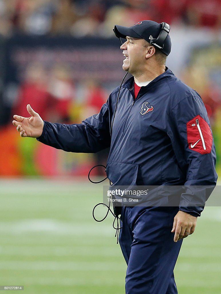 Head coach Bill O'Brien of the Houston Texans challenges a New England Patriots catch in the third quarter on December 13 2015 at NRG Stadium in...