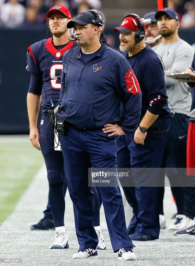 Head coach Bill O'Brien of the Houston Texans during game action against the New Orleans Saints at NRG Stadium on November 29 2015 in Houston Texas
