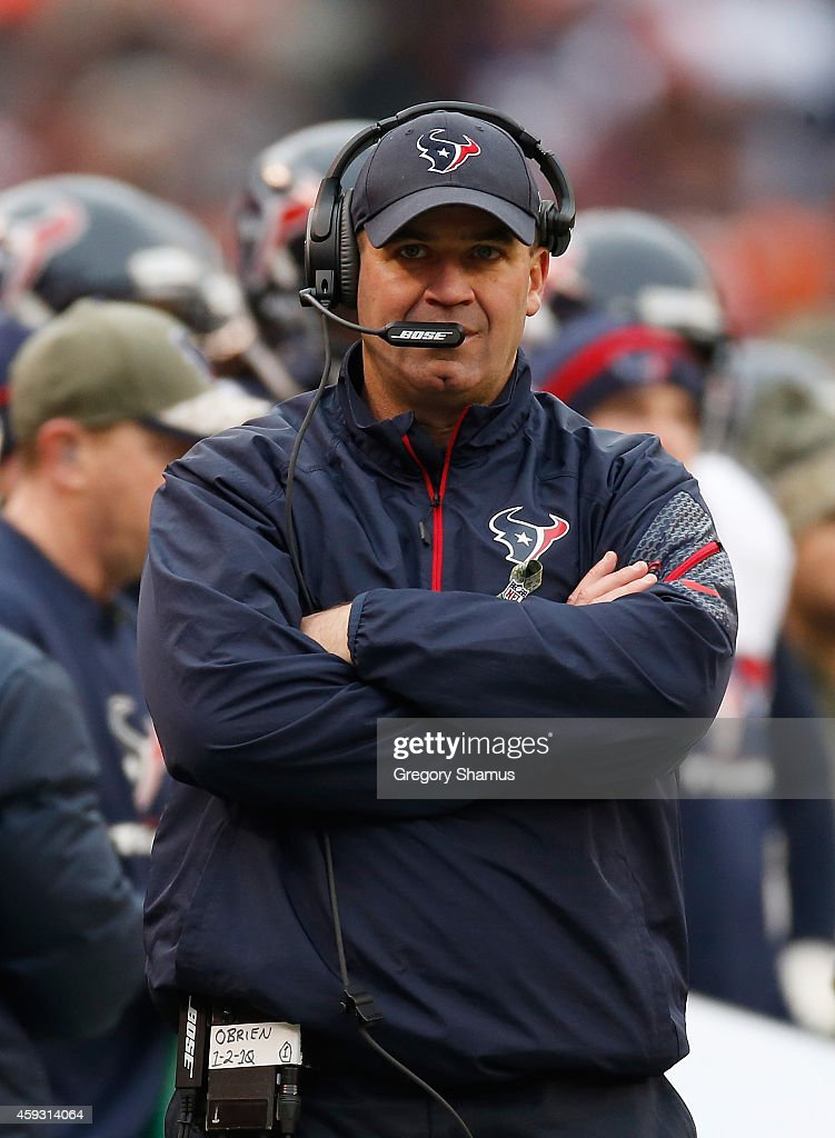 Head coach Bill O'Brien of the Houston Texans looks on against the Cleveland Browns at FirstEnergy Stadium on November 16 2014 in Cleveland Ohio