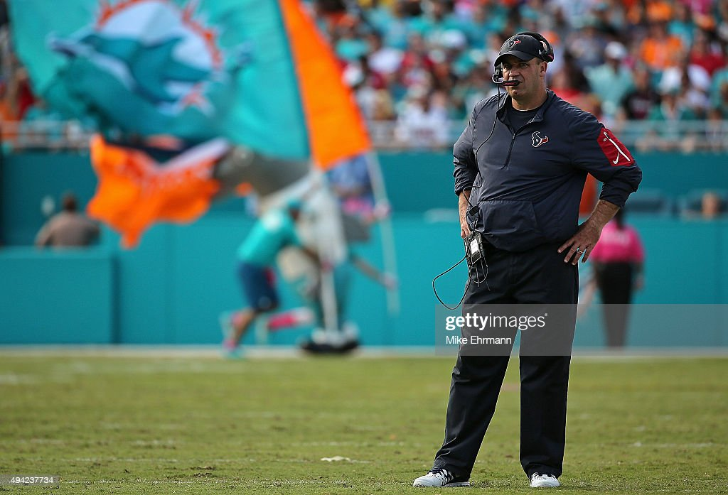 Head coach Bill O'Brien of the Houston Texans looks on during a game against the Miami Dolphins at Sun Life Stadium on October 25 2015 in Miami...