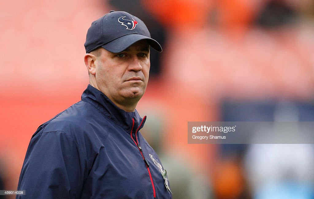 Head coach Bill O'Brien of the Houston Texans looks on during the game against the Cleveland Browns at FirstEnergy Stadium on November 16 2014 in...