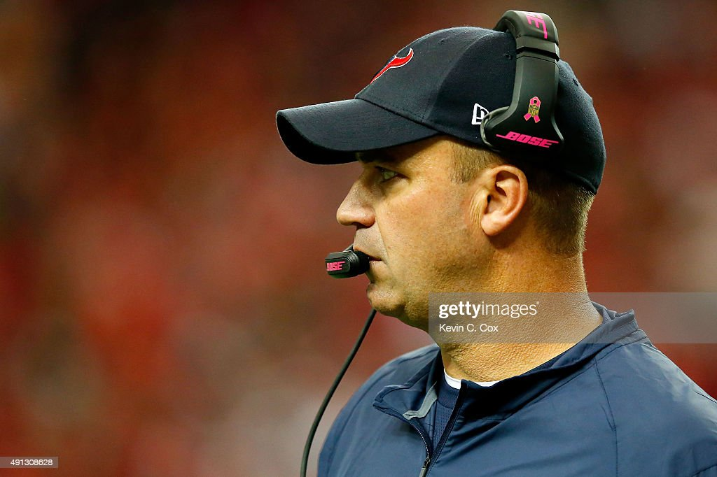 Head coach Bill O'Brien of the Houston Texans looks on from the sidelines in the first half against the Atlanta Falcons at the Georgia Dome on...