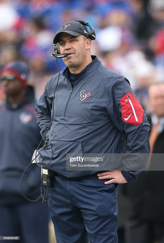 Head coach Bill O'Brien of the Houston Texans looks on from the sideline against the Buffalo Bills during NFL game action at Ralph Wilson Stadium on...