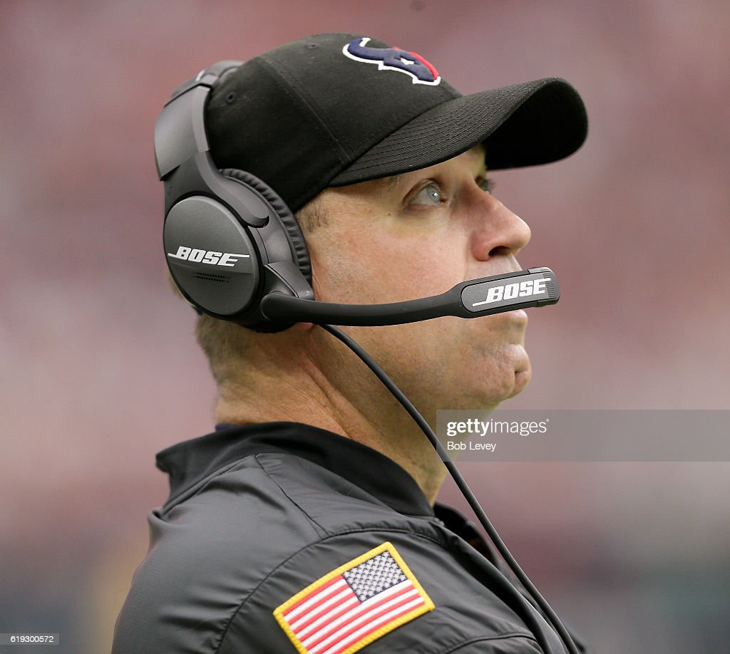 Head coach Bill O'Brien of the Houston Texans looks up at the scoreboard in the fourth quarter against the Detroit Lions at NRG Stadium on October 30, 2016 in Houston, Texas.