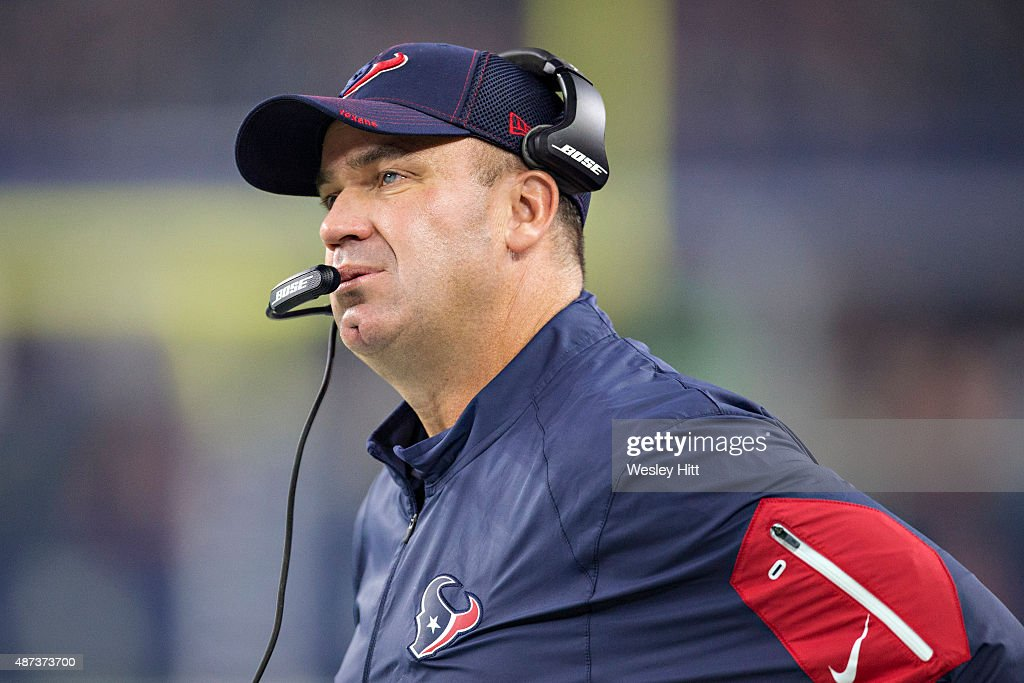 Head Coach Bill O'Brien of the Houston Texans on the sidelines during a preseason game against the Dallas Cowboys at ATT Stadium on September 3 2015...