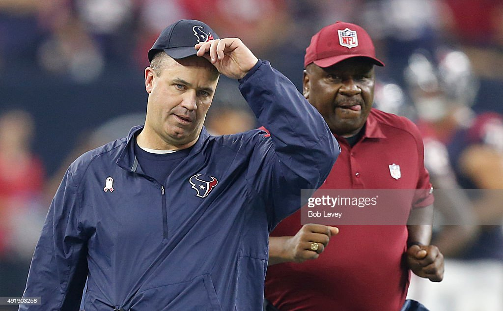 Head coach Bill O'Brien of the Houston Texans walks the sidelines while the Texans play the Indianapolis Colts in the third quarter on October 8 2015...