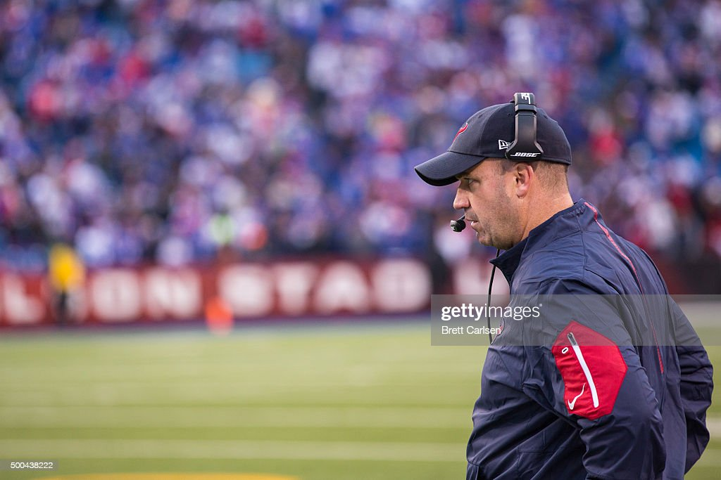Head coach Bill O'Brien of the Houston Texans watches game action during the fourth quarter against the Buffalo Bills on December 6 2015 at Ralph...