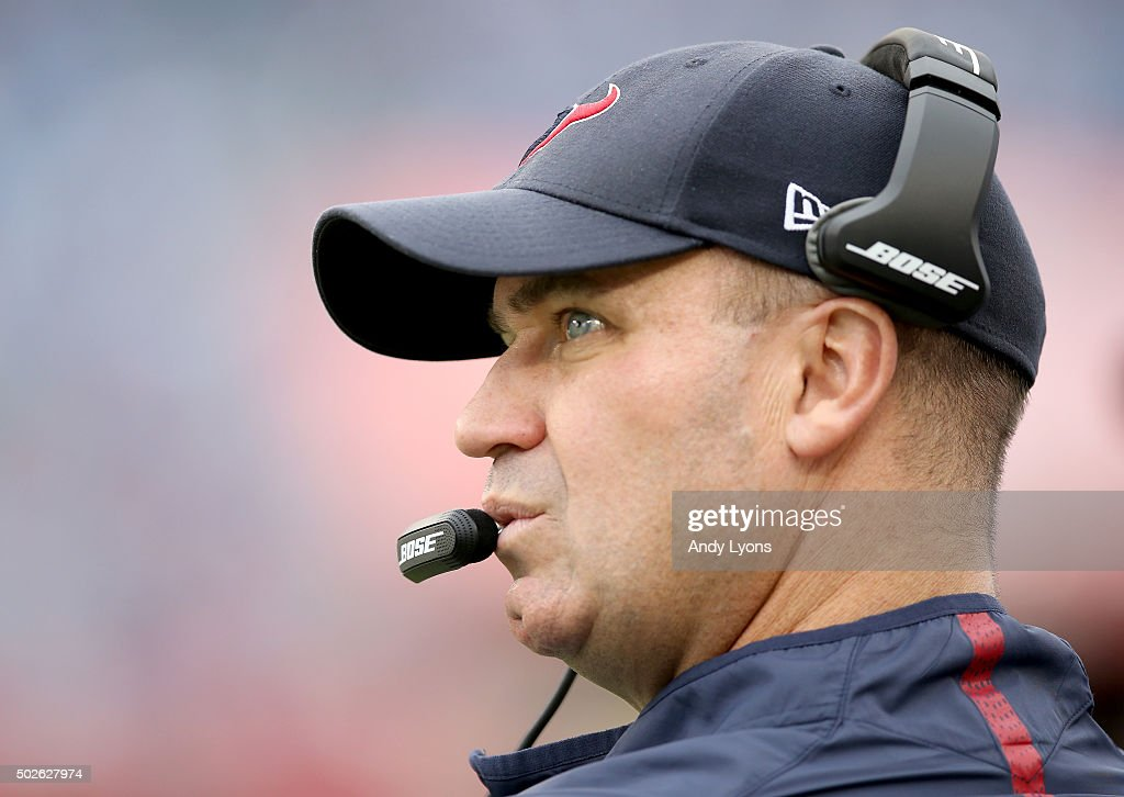 Head coach Bill O'Brien of the Houston Texans watches the game against the Tennessee Titans at LP Field on December 27 2015 in Nashville Tennessee