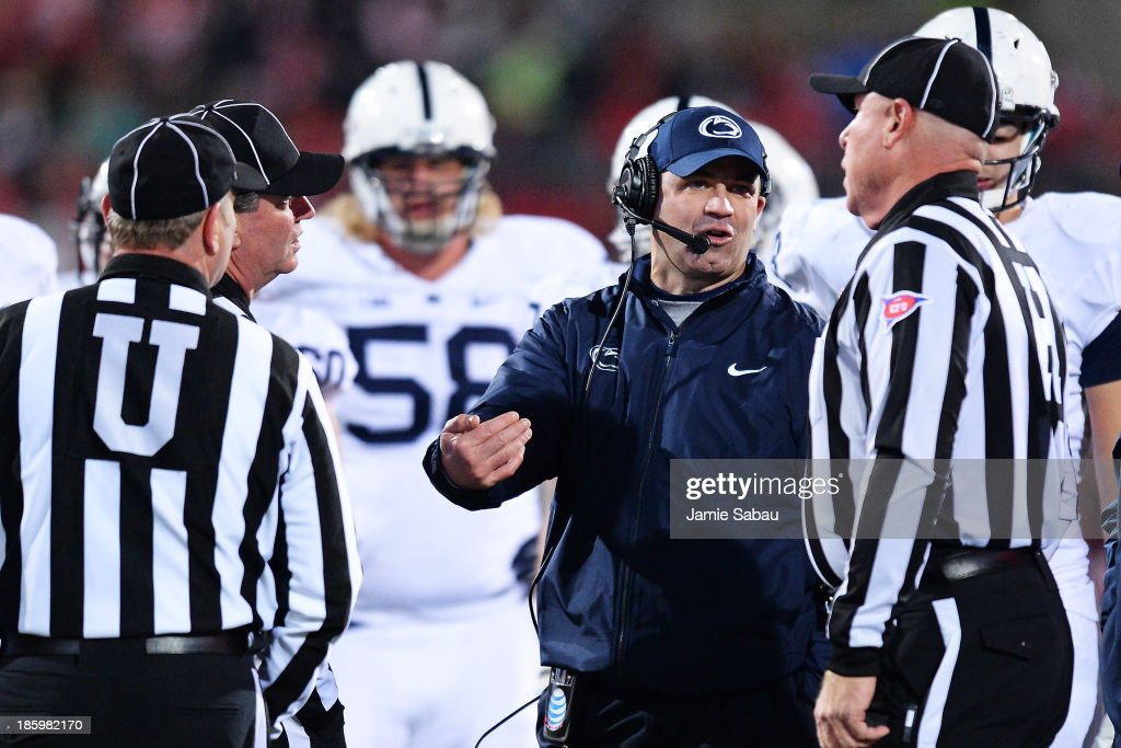 Head Coach Bill O'Brien of the Penn State Nittany Lions discusses a call with officials in the third quarter against the Ohio State Buckeyes at Ohio Stadium on October 26, 2013 in Columbus, Ohio. Ohio State defeated Penn State 63-14.
