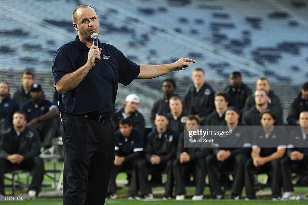 Head coach Bill O'Brien of the Penn State Nittany Lions football team points to his team during a pep rally at Beaver Stadium on August 31, 2012 in State College, Pennsylvania. Penn State will play it's first game under O'Brien against Ohio University on September 1 following the death of former coach Joe Paterno.