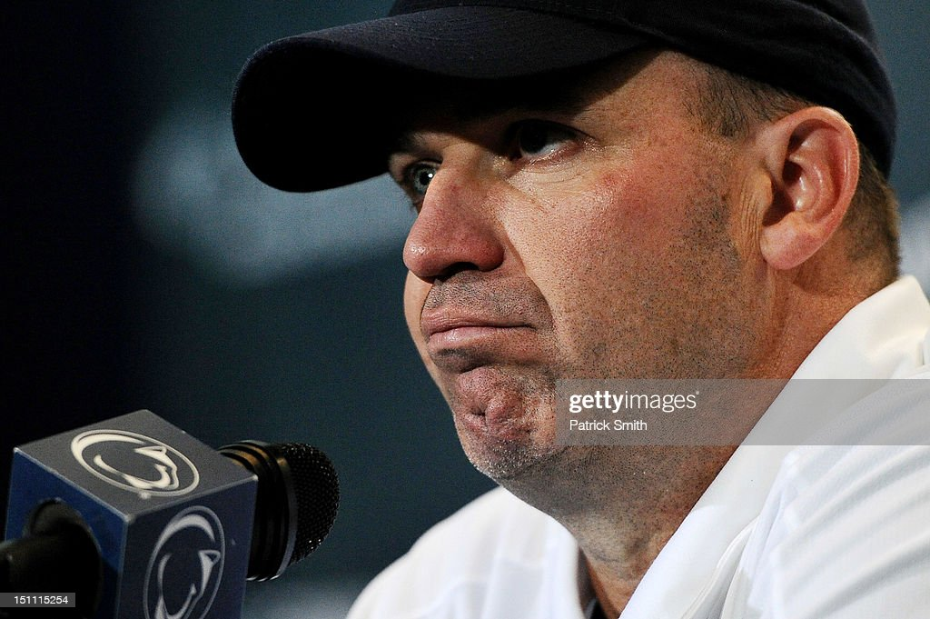 Head coach Bill O'Brien of the Penn State Nittany Lions speaks to the media after losing to the Ohio Bobcats at Beaver Stadium on September 1 2012 in...