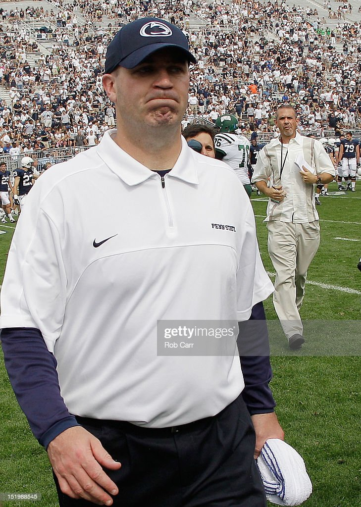 Head coach Bill O'Brien of the Penn State Nittany Lions walks off the field after losing 24-14 to the Ohio Bobcats at Beaver Stadium on September 1, 2012 in State College, Pennsylvania.