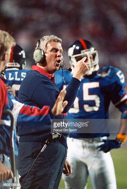 Head Coach Bill Parcells of the New York Giants looks on from the sidelines against the Buffalo Bills during Super Bowl XXV January 27 1991 at Tampa...