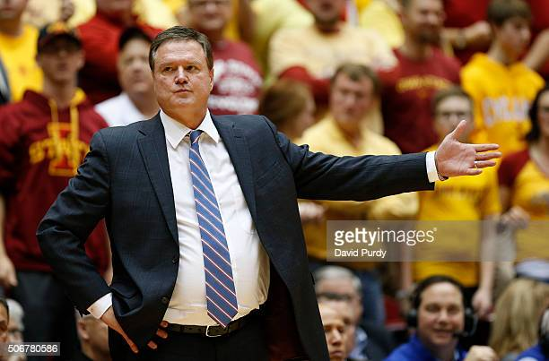 Head coach Bill Self of the Kansas Jayhawks argues a call in the second half of play against the Iowa State Cyclones at Hilton Coliseum on January 25...