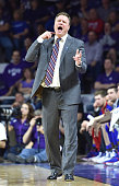 Head coach Bill Self of the Kansas Jayhawks calls out instructions against the Kansas State Wildcats during the first half on February 20 2016 at...