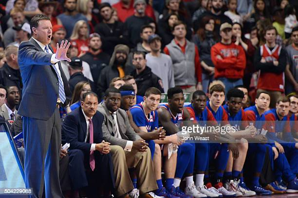 Head coach Bill Self of the Kansas Jayhawks calms his team during the game against the Texas Tech Red Raiders on January 09 2016 at United...