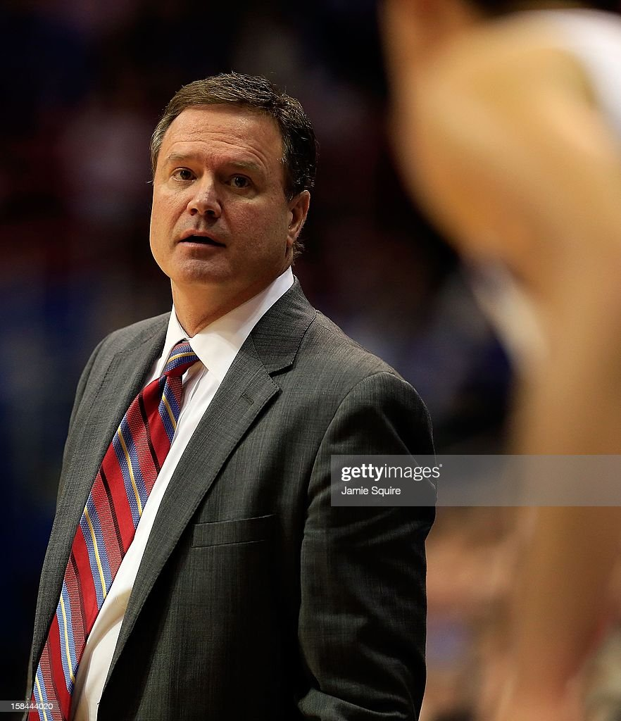 Head coach Bill Self of the Kansas Jayhawks coaches from the bench during the game against the Belmont Bruins at Allen Fieldhouse on December 15, 2012 in Lawrence, Kansas.