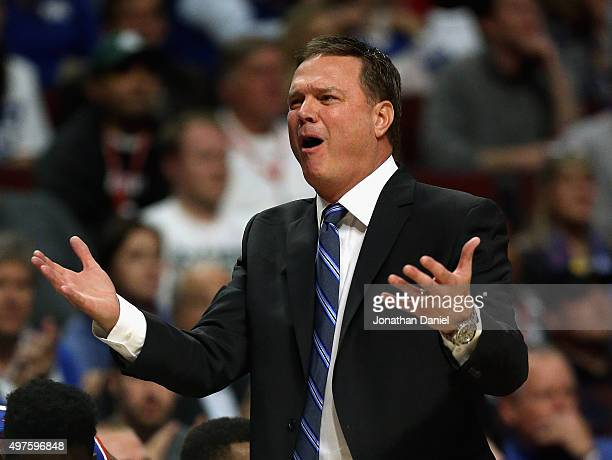 Head coach Bill Self of the Kansas Jayhawks complains to a referee as his team takes on the Michigan State Spartans during the Champions Classic at...