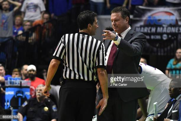 Head coach Bill Self of the Kansas Jayhawks complains to the official against the Michigan State Spartans during the second round of the 2017 NCAA...