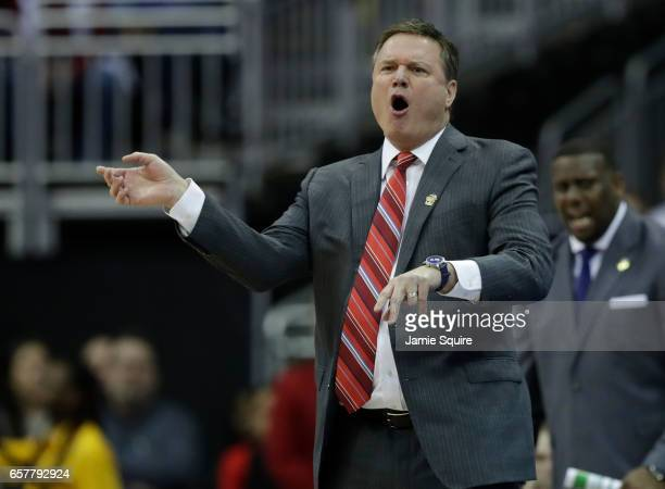 Head coach Bill Self of the Kansas Jayhawks instructs his team against the Oregon Ducks during the 2017 NCAA Men's Basketball Tournament Midwest...