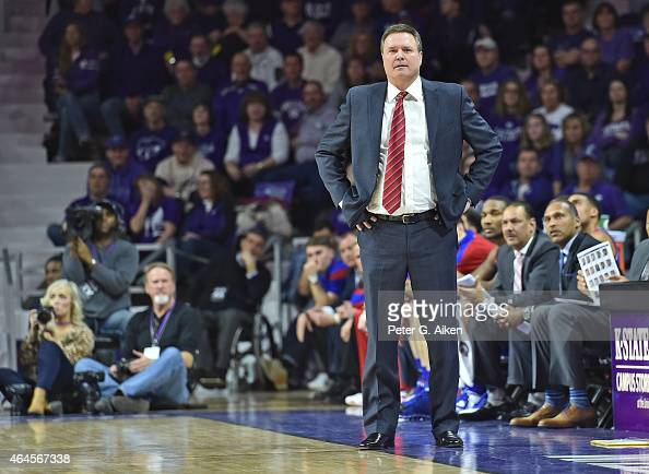 Head coach Bill Self of the Kansas Jayhawks looks down the court against the Kansas State Wildcats during the second half on February 23 2015 at...