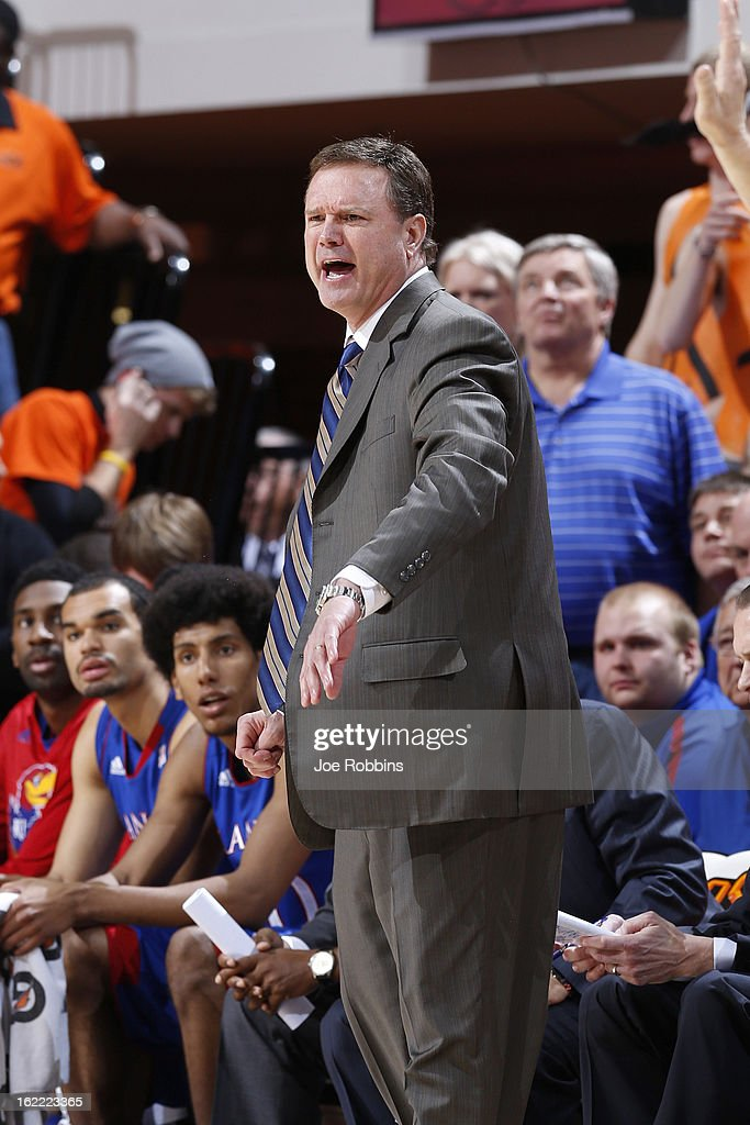 Head coach Bill Self of the Kansas Jayhawks looks on against the Oklahoma State Cowboys during the game at Gallagher-Iba Arena on February 20, 2013 in Stillwater, Oklahoma. Kansas won 68-67 in two overtimes.