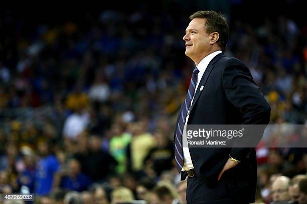 Head coach Bill Self of the Kansas Jayhawks looks on against the Wichita State Shockers during the third round of the 2015 NCAA Men's Basketball...