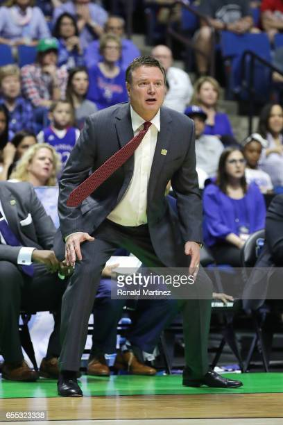 Head coach Bill Self of the Kansas Jayhawks looks on against the Michigan State Spartans during the second round of the 2017 NCAA Men's Basketball...