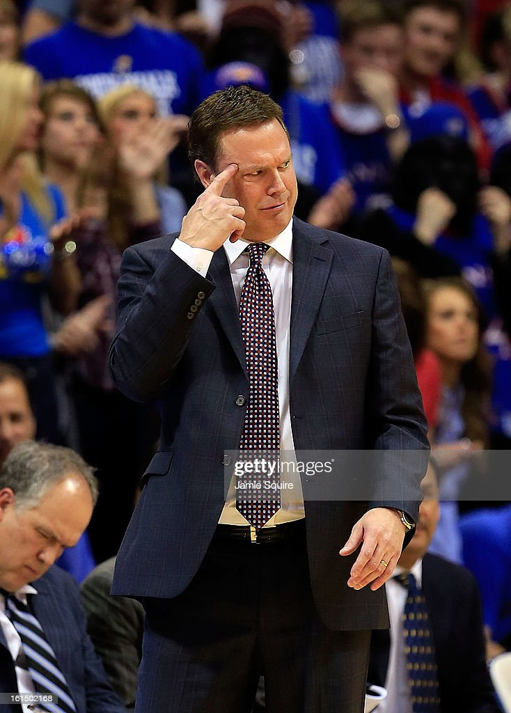 Head coach Bill Self of the Kansas Jayhawks motions from the bench during the game against the Kansas State Wildcats at Allen Fieldhouse on February 11, 2013 in Lawrence, Kansas.