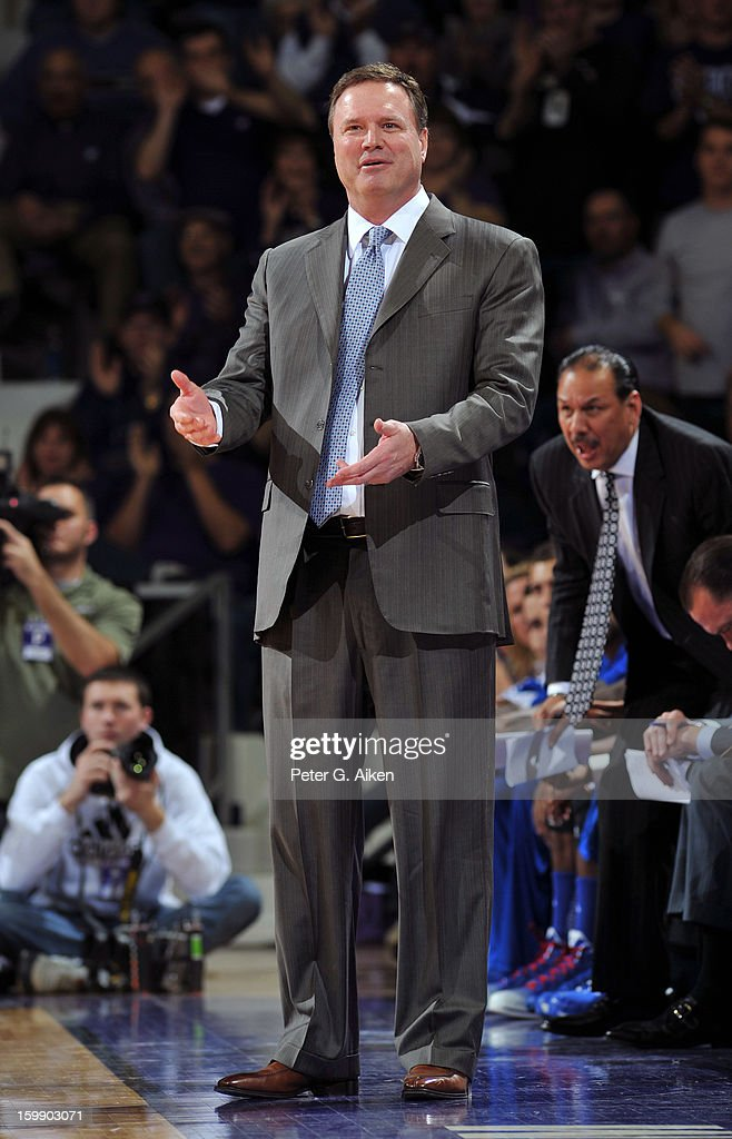 Head coach Bill Self of the Kansas Jayhawks reacts after a call against the Jayhawks during the first half against the Kansas State Wildcats on January 22, 2013 at Bramlage Coliseum in Manhattan, Kansas. Kansas defeated Kansas State 59-55.