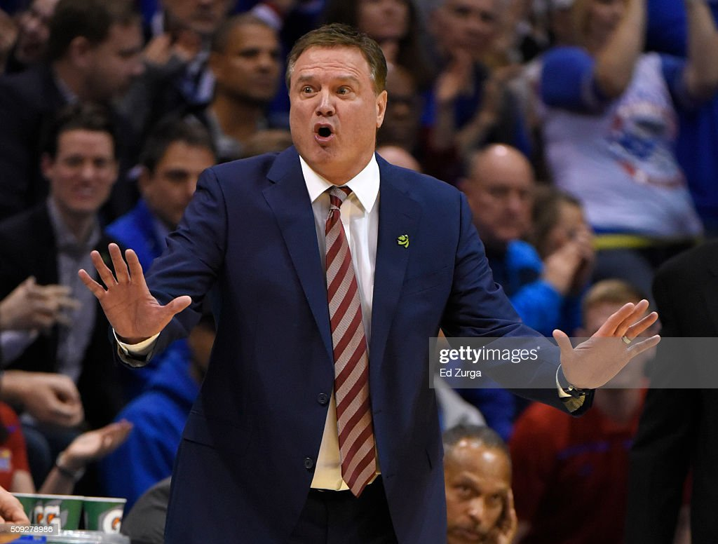 Head coach <a gi-track='captionPersonalityLinkClicked' href=/galleries/search?phrase=Bill+Self+-+Coach&family=editorial&specificpeople=228699 ng-click='$event.stopPropagation()'>Bill Self</a> of the Kansas Jayhawks reacts after a foul was called against his team against the West Virginia Mountaineers in the second half at Allen Fieldhouse on February 9, 2015 in Lawrence, Kansas.