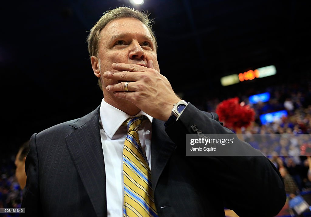 Head coach <a gi-track='captionPersonalityLinkClicked' href=/galleries/search?phrase=Bill+Self+-+Treinador&family=editorial&specificpeople=228699 ng-click='$event.stopPropagation()'>Bill Self</a> of the Kansas Jayhawks reacts after the Jayhawks defeated the Oklahoma Sooners 109-106 in triple overtime to win the game at Allen Fieldhouse on January 4, 2016 in Lawrence, Kansas.