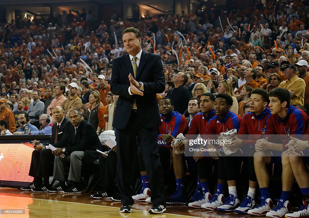 Head coach <a gi-track='captionPersonalityLinkClicked' href=/galleries/search?phrase=Bill+Self+-+Coach&family=editorial&specificpeople=228699 ng-click='$event.stopPropagation()'>Bill Self</a> of the Kansas Jayhawks reacts as his team plays the Texas Longhorns at the Frank Erwin Center on January 24, 2015 in Austin, Texas.