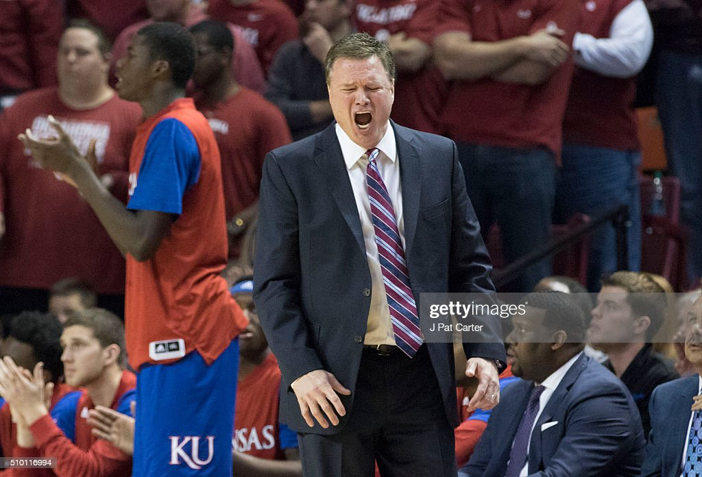 Head coach <a gi-track='captionPersonalityLinkClicked' href=/galleries/search?phrase=Bill+Self+-+Coach&family=editorial&specificpeople=228699 ng-click='$event.stopPropagation()'>Bill Self</a> of the Kansas Jayhawks reacts during a NCAA college basketball game against Oklahoma at the Lloyd Noble Center on February13, 2016 in Norman, Oklahoma. Kansas won 76-72.