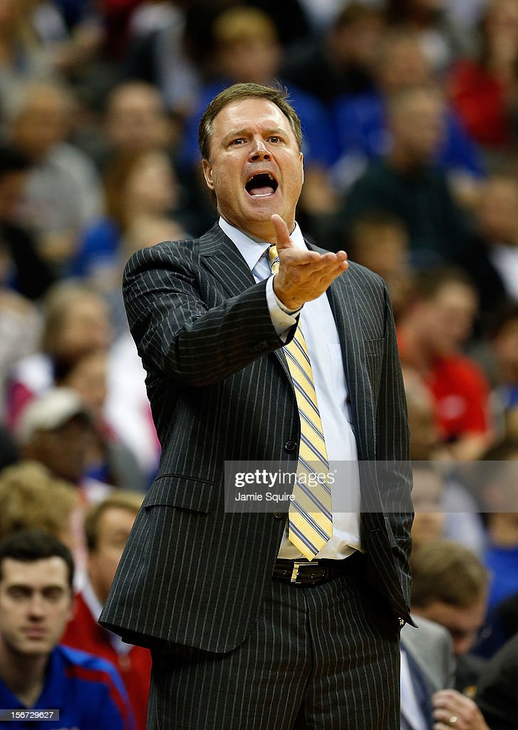 Head coach Bill Self of the Kansas Jayhawks reacts during the CBE Hall of Fame Classic game against the Washington State Cougars at Sprint Center on November 19, 2012 in Kansas City, Missouri.