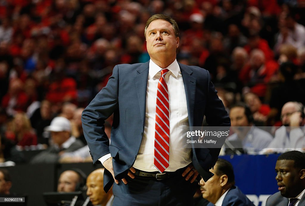 Head coach <a gi-track='captionPersonalityLinkClicked' href=/galleries/search?phrase=Bill+Self+-+Treinador&family=editorial&specificpeople=228699 ng-click='$event.stopPropagation()'>Bill Self</a> of the Kansas Jayhawks reacts during the second half of a game against the San Diego State Aztecs at Viejas Arena on December 22, 2015 in San Diego, California.