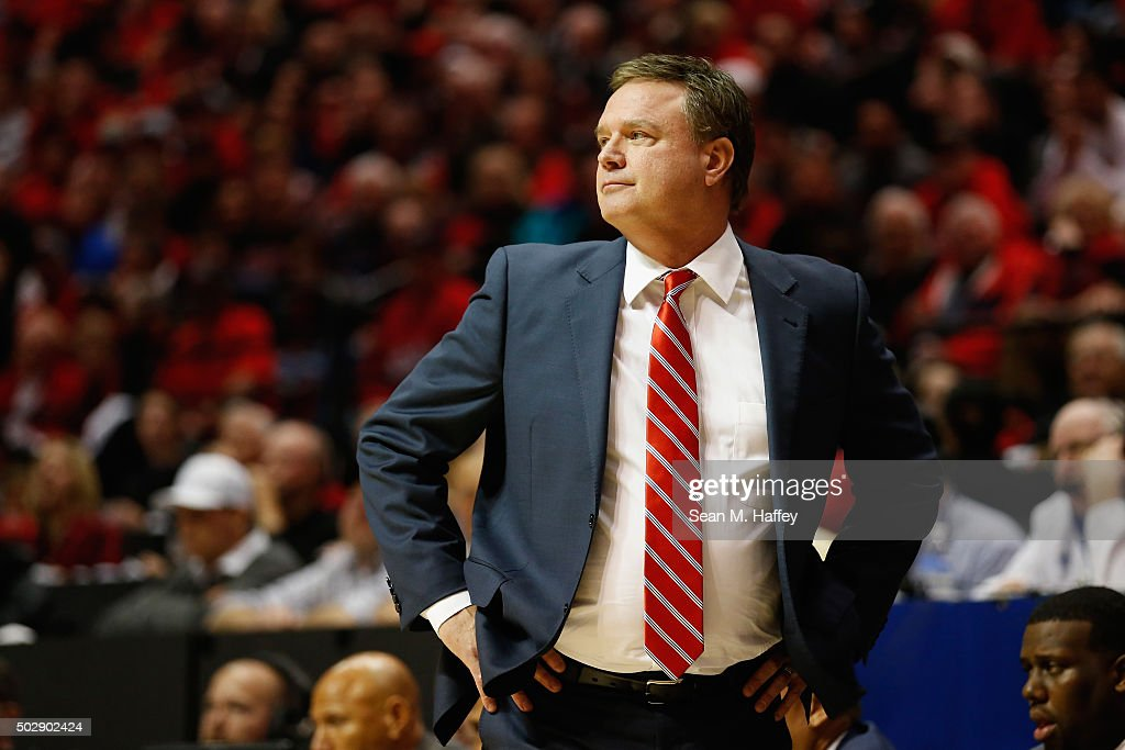 Head coach <a gi-track='captionPersonalityLinkClicked' href=/galleries/search?phrase=Bill+Self+-+Basketballtrainer&family=editorial&specificpeople=228699 ng-click='$event.stopPropagation()'>Bill Self</a> of the Kansas Jayhawks reacts during the second half of a game against the San Diego State Aztecs at Viejas Arena on December 22, 2015 in San Diego, California.