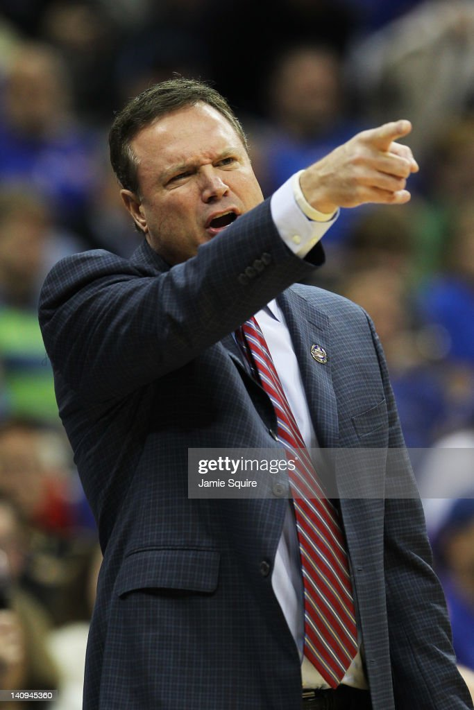 Head coach <a gi-track='captionPersonalityLinkClicked' href=/galleries/search?phrase=Bill+Self+-+Coach&family=editorial&specificpeople=228699 ng-click='$event.stopPropagation()'>Bill Self</a> of the Kansas Jayhawks reacts during their game against the Texas A&M Aggies during the quarterfinals of the 2012 Big 12 Men's Basketball Tournament at Sprint Center on March 8, 2012 in Kansas City, Missouri.