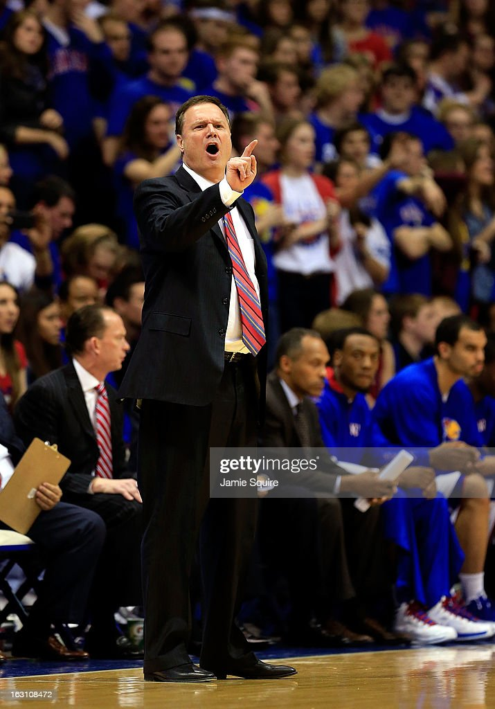 Head coach Bill Self of the Kansas Jayhawks reacts from the bench during the against the Texas Tech Red Raiders game at Allen Fieldhouse on March 4, 2013 in Lawrence, Kansas.
