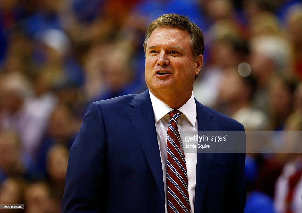 Head coach Bill Self of the Kansas Jayhawks reacts from the bench during the game against the Harvard Crimson at Allen Fieldhouse on December 5 2015...