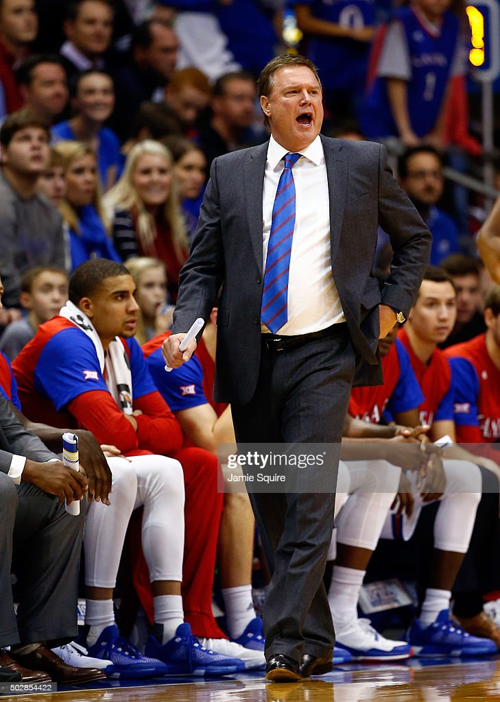 Head coach <a gi-track='captionPersonalityLinkClicked' href=/galleries/search?phrase=Bill+Self+-+Coach&family=editorial&specificpeople=228699 ng-click='$event.stopPropagation()'>Bill Self</a> of the Kansas Jayhawks reacts from the bench during the game against the UC Irvine Anteaters at Allen Fieldhouse on December 29, 2015 in Lawrence, Kansas.