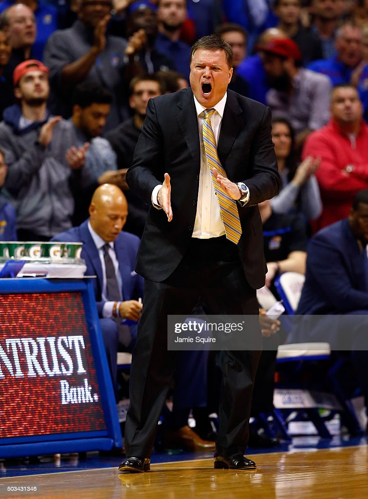 Head coach <a gi-track='captionPersonalityLinkClicked' href=/galleries/search?phrase=Bill+Self+-+Basketballtrainer&family=editorial&specificpeople=228699 ng-click='$event.stopPropagation()'>Bill Self</a> of the Kansas Jayhawks reacts from the bench during the game against the Oklahoma Sooners at Allen Fieldhouse on January 4, 2016 in Lawrence, Kansas.